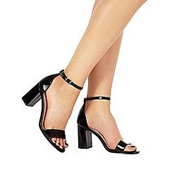 Faith - Black patent 'Demi' mid heel wide fit ankle strap sandals