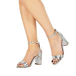 Faith - Silver 'Demi' high heel wide fit ankle strap sandals
