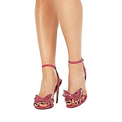 Faith - Pink suede 'Filly' high stiletto heel ankle strap sandals