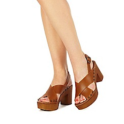 Faith - Tan 'Deliah' high block heel peep toe sandals