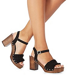 Faith - Black suede 'Dani' high block heel ankle strap sandals