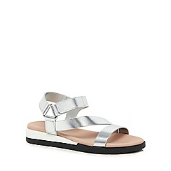 Faith - Silver leather 'Jesper' ankle strap sandals