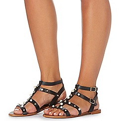Faith - Black leather 'Jango' gladiator sandals