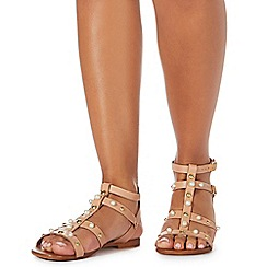 Faith - Light tan leather 'Jango' gladiator sandals