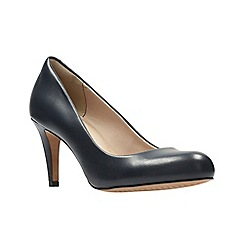 Clarks - Navy leather ' carlita cove ' court shoes
