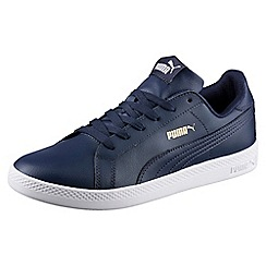 Puma - Navy leather 'Smash Wn L' trainers