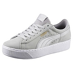 Puma - Light grey Vikky platform trainers