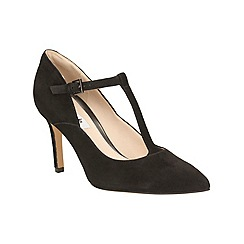 Clarks - Black Suede Dinah Dolly Stiletto Heeled T-bar Shoe