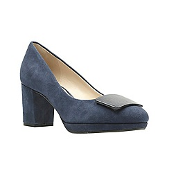 Clarks - Navy suede high block heel court shoes