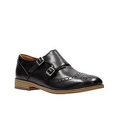 Clarks - Black leather slip on shoes