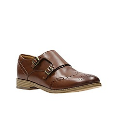 Clarks - Dark tan leather zyris vienna buckle fastening shoe