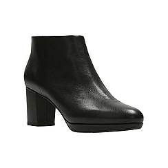 Clarks - Black leather 'Kelda Nights' high block heel ankle boots