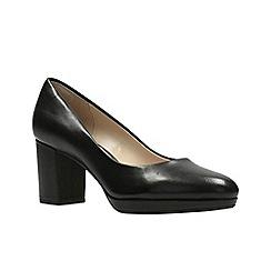 Clarks - Black Leather'  KELDA HOPE'  Court Shoes