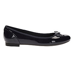 Clarks - Navy patent 'couture bloom' pumps