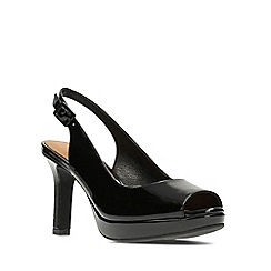 Clarks - Black patent leather mayra blossom women's high heel sandals