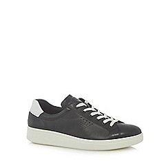 ECCO - Black and white leather lace up trainers