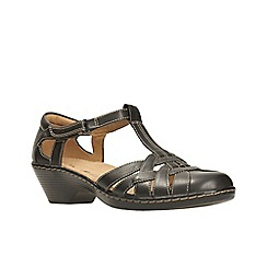 Clarks - Black leather ' wendy loras ' t bar sandals