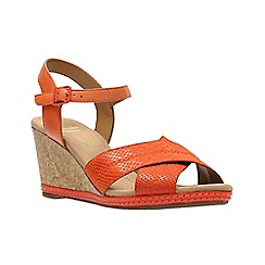 Clarks - Orange leather ' helio latitude ' wedges