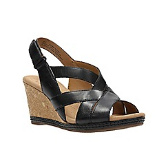 Clarks - Black leather ' halio coral ' wedges