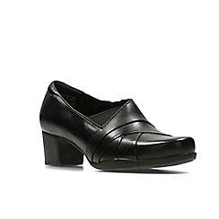 Clarks - Black leather ' rosalyn adele ' slip on
