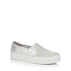 Skechers - Silver 'Double Up Shiny Dancer' slip on trainers