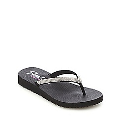 Skechers - Black diamante slim flip flop slippers