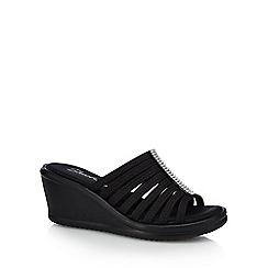 Skechers - Black 'Rumbler Hotshot' mid wedge heel mules