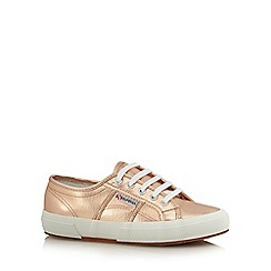 Superga - Rose metallic lace up trainers