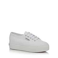 Superga - White canvas high platform heel trainers