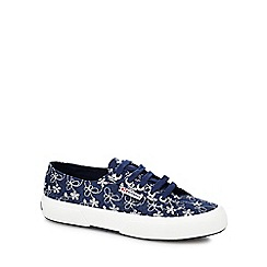 Superga - Navy embroidered trainers