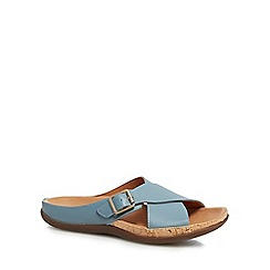 Strive - Light turquoise leather blend 'Maria' mule slippers