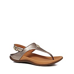 Strive - Metallic leather 'Tropez' T-bar sandals