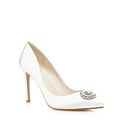 No. 1 Jenny Packham - Ivory 'Paola' sateen embellished high court shoes
