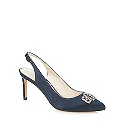 No. 1 Jenny Packham - Navy jewel embellished sling back court shoes