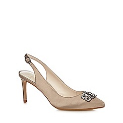 No. 1 Jenny Packham - Taupe jewel embellished sling back court shoes