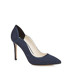 No. 1 Jenny Packham - Navy lace 'Peggy' high stiletto heel pointed shoes