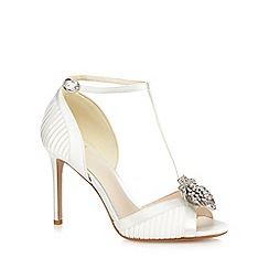 No. 1 Jenny Packham - Ivory satin 'Pixie' high stiletto heel T-bar sandals