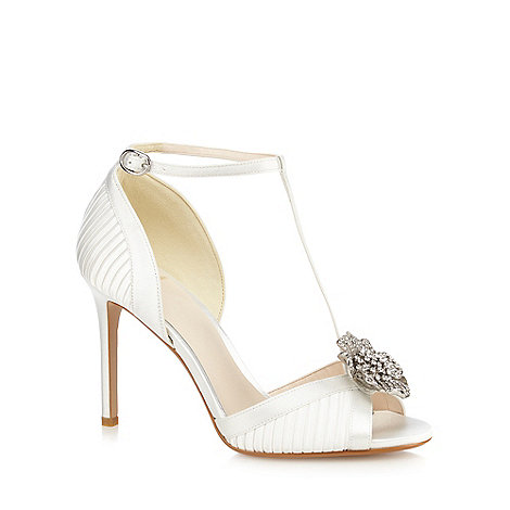 No. 1 Jenny Packham - Ivory satin +Pixie+ high stiletto heel T-bar sandals