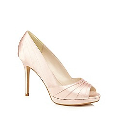 No. 1 Jenny Packham - Nude satin 'Pandora' mid stiletto heel peep toe shoes
