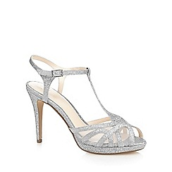 No. 1 Jenny Packham - Silver glitter 'Polly' high stiletto heel T-bar sandals