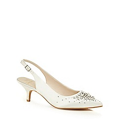 No. 1 Jenny Packham - White satin 'Pamela' mid kitten heel slingbacks