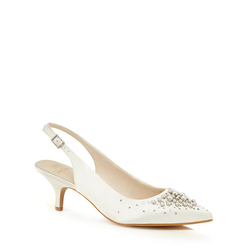 No. 1 Jenny Packham - White Satin Pamela Mid Kitten Heel