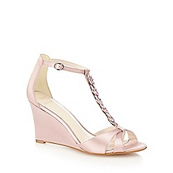 No. 1 Jenny Packham - Pink satin 'Ping' high wedge heel T-bar sandals