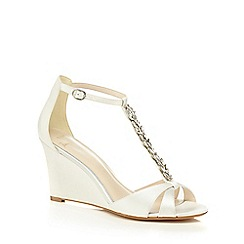 No. 1 Jenny Packham - Ivory satin 'Ping' high wedge heel T-bar sandals