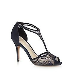 No. 1 Jenny Packham - Navy 'Peri' high stiletto heel T-bar sandals
