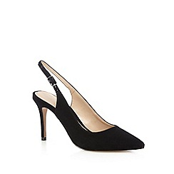J by Jasper Conran - Black suede high stiletto heel sling back pointed shoes