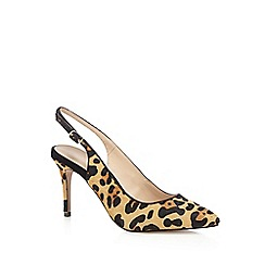 J by Jasper Conran - Tan animal print pony hair sling back high court shoes