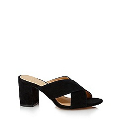 J by Jasper Conran - Black 'Jessie' high block heel mules