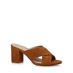 J by Jasper Conran - Tan 'Jessie' high block heel mules