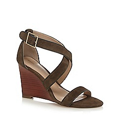 J by Jasper Conran - Green suede 'Jaylee' high wedge heel ankle strap sandals